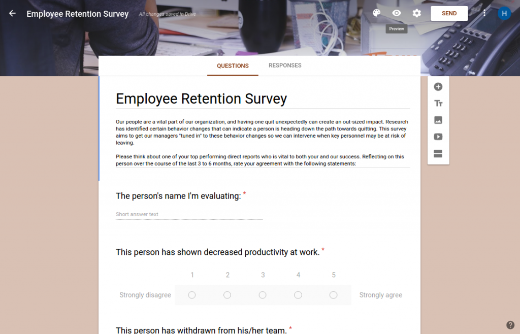Preview the Employee Retention Survey