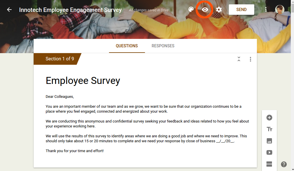 6. Preview engagement survey.