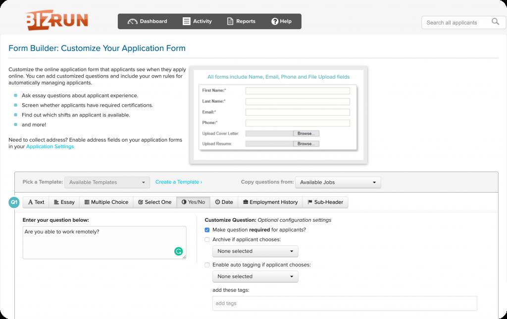 ATS applicant application form builder