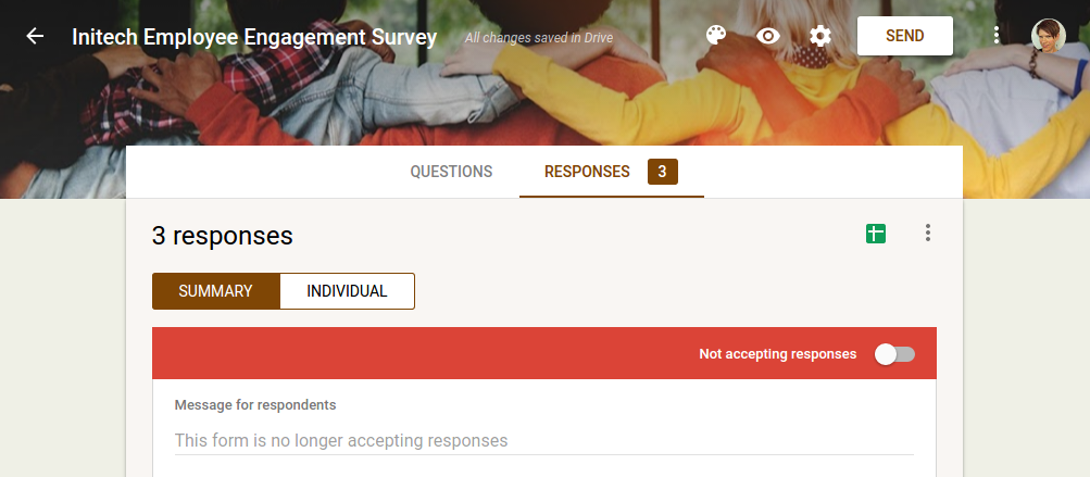 Close the survey > Then it will look like this