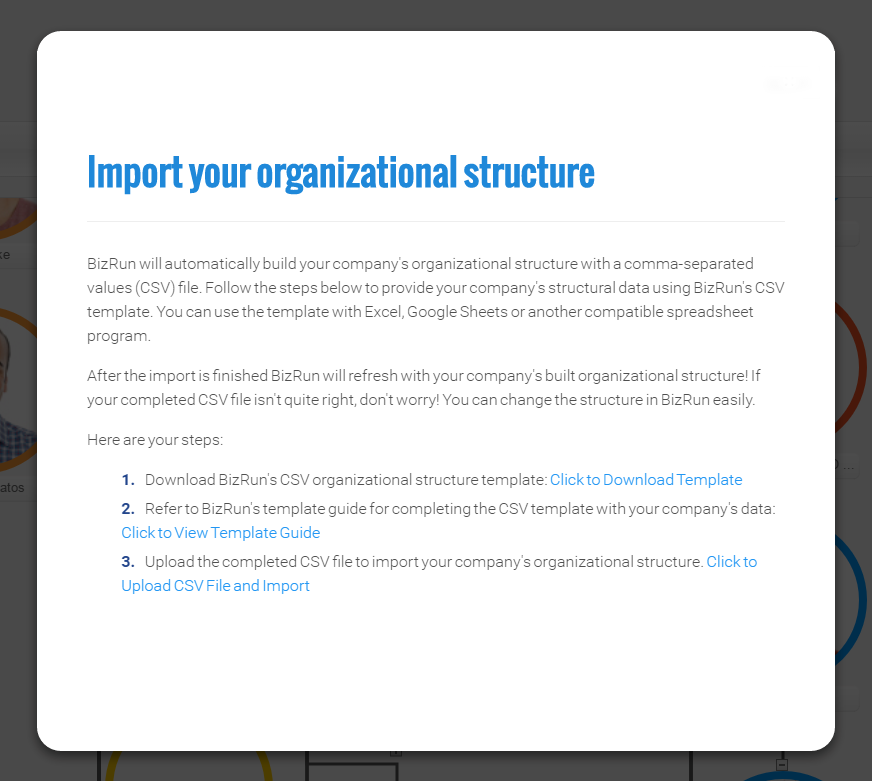Import Organizational Structure Guide BizRun - Easy to use org chart template