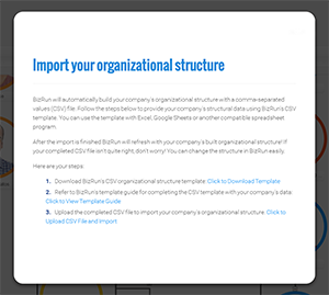 Dialog box that launched with click of Import Org Structure button
