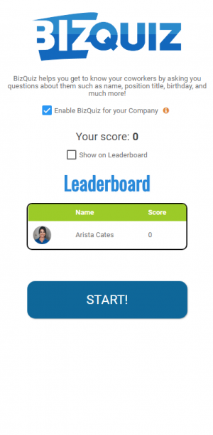 BizQuiz leader board